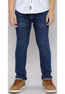 Calça Jeans Infantil Skinny Em Moletom Com Bolsos Azul Escuro