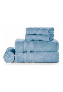 Jogo De Toalhas De Banho Com 05 Peças Unika Azul Allure - Karsten