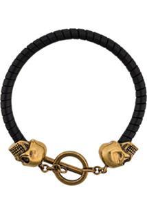 Alexander Mcqueen Skull Leather Bracelet - Preto