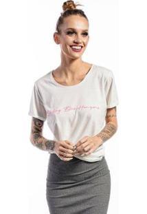 Camiseta Cia Gota Manga Curta Feminina - Feminino-Branco
