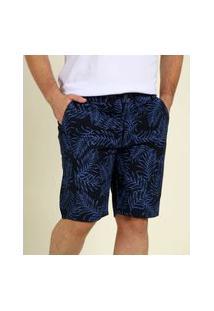 Bermuda Plus Size Masculina Sarja Estampa Folhas