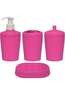Kit Para Banheiro Ravi 4 Peças Rosa