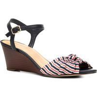 6fd59c2359 Sandália Anabela Shoestock Nó Feminina - Feminino-Vermelho+Azul