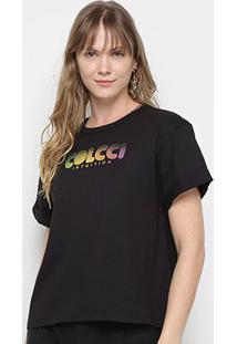 Camiseta Colcci Estampada Feminina - Feminino-Preto