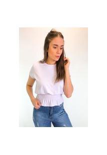 Camiseta Em Viscolycra Com Lastex Na Cintura - Branco