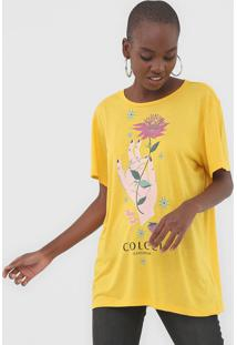 Camiseta Colcci Estampada Amarela - Amarelo - Feminino - Viscose - Dafiti