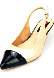 Scarpin Slingback Salto Baixo Love Shoes Captoe Preto