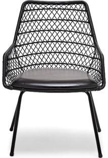 Cadeira Com Braço Trama Estofada Junco Sintético Design Exclusivo By Studio Artesian