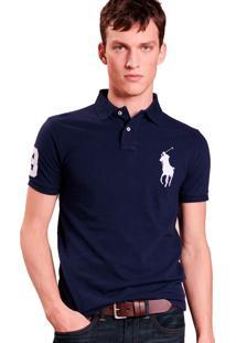 Polo Ralph Lauren Masculina Custom Fit Big Pony Azul Marinho