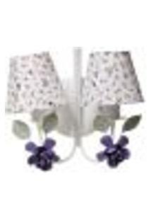 Arandela 2 Lâmpadas Flores G Lilás Quarto Bebê Infantil - Bivolt