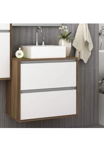 Gabinete Para Banheiro 3 Gavetas Móveis Bosi Nogal/Branco