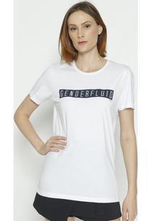 "Camiseta ""Genderfluid"" - Branca & Azul - Colccicolcci"