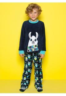 Pijama Infantil Puket Soft Lhama Masculino - Masculino-Marinho