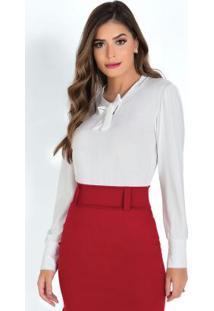ce9623331a Camisa Com Gola Laço Off White Moda Evangélica