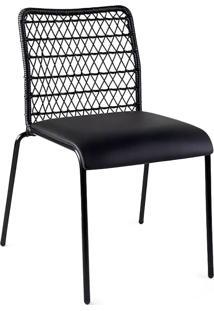 Cadeira Trama Slim Estofada Junco Sintético Design Exclusivo By Studio Artesian