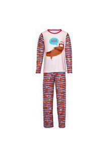 Pijama Masculino Manga Longa E Calça Isabb Bicho Preguiça Marrom