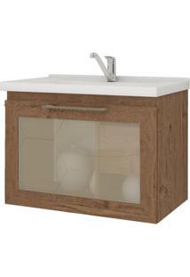 Gabinete De Banheiro Hibisco 1 Pt 1 Gv Amêndoa 59 Cm