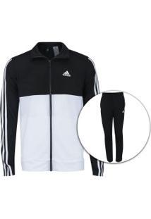 Agasalho Adidas Back2Bas 3S - Masculino - Preto Branco 345fa4bd2bf4c