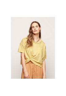 Camiseta Feminina Com Nó Franzido - Amarelo