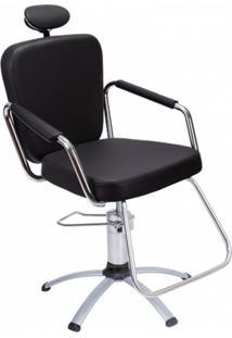 Cadeira Para Salão De Beleza Nix Reclinável Preta Dompel