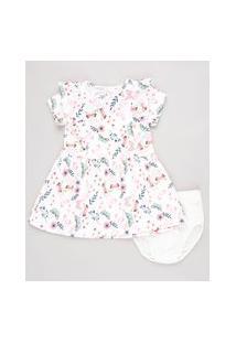 Vestido Infantil Estampado Floral Com Babado Manga Curta + Calcinha Branco