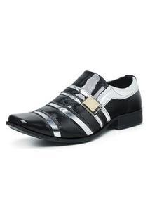 Sapato Social Masculino Envernizado Confortável Preto/Prata