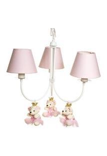 Lustre 3L Ariel Com 3 Ursinhas Princesas Quarto Bebê Infantil Menina Potinho De Mel Rosa