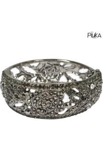 Bracelete Piuka Rosas Strass - Feminino