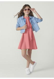 Vestido Hering Kids Curto Em Malha De Algodão Rosa