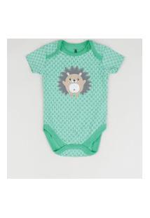 Body Infantil Porco Espinho Estampado Manga Curta Verde