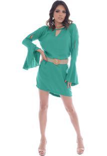 Vestido Gisele Freitas Curto Manga Flare Verde