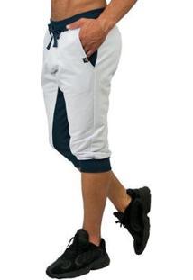 Bermuda Moletom Brohood Force Saruel Skinny Masculina - Masculino-Branco+Azul