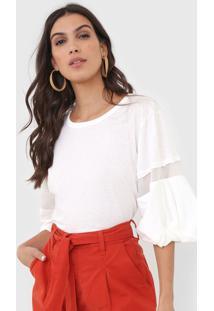 Camiseta Open Style Recortes Off-White - Kanui