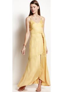 Vestido Longo Em Tecido De Viscose Com Fenda Frontal 869af69b104