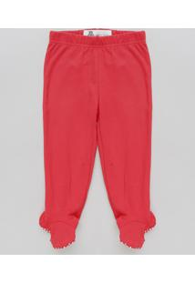 Calça Infantil Básica Com Pezinho Vermelha