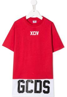 Gcds Kids Vestido Com Logo E Listras - Vermelho