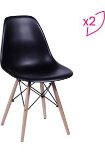 Jogo De Cadeiras Eames Dkr- Preto & Madeira- 2Pçs