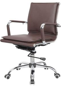 Cadeira Escritorio Eames Top Baixa Marrom Base Cromada - 41004 - Sun House