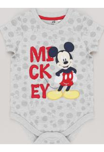 Body Infantil Mickey Estampado De Poás Com Bordado Manga Curta Gola Redonda Cinza Mescla