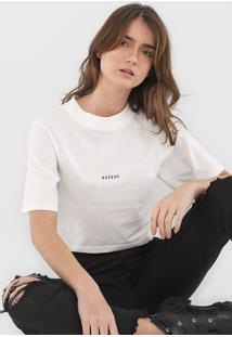 Camiseta Cropped Colcci Lettering Branca - Kanui