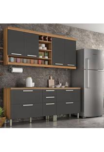 Cozinha Compacta Burguesa 7 Pt 4 Gv Grafite E Freijó