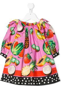 Dolce & Gabbana Kids Vestido Evasê Com Estampa De Frutas - Rosa