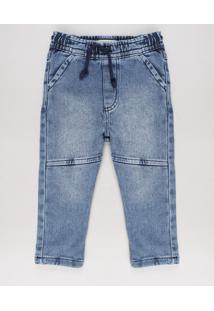 Calça Jeans Infantil Em Moletom Com Recorte Azul Médio