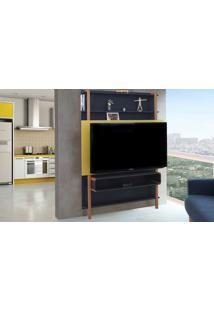 Painel Para Tv Preto Com Amarelo - Painel Tv Sala - Estante Para Tv Até 60 Polegadas Karl Woodinn - 134X25,5X180 Cm