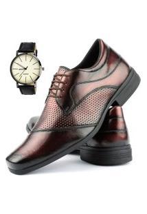 Sapato Social Perfuros Com Cadarço Dhl Masculino Bronze + Relógio