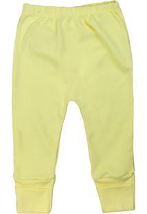 Calça De Bebê Pé Reversível Suedine Básico Amarelo Amarelo