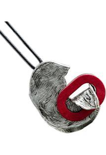 Colar Cordáo Preto Artestore Com Metal E Madeira Abstrato Vermelho - Tricae