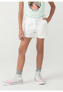 Shorts Menina Em Sarja Alfaiataria Branco