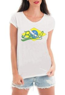 Camiseta Criativa Urbana De Renda Bandeira Do Brasil - Feminino