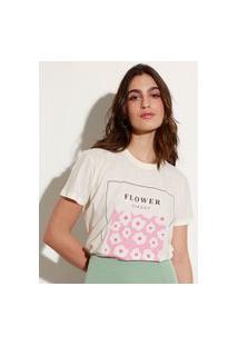 """T-Shirt De Algodão """"Flower Garden"""" Manga Curta Decote Redondo Mindset Off White"""
